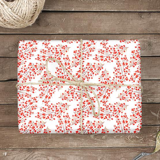Weihnachtsbeeren Geschenkpapier