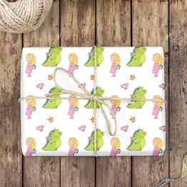 Drachenmädchen Geschenkpapier