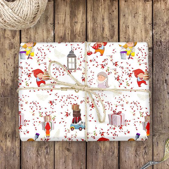 Weihnachtszwerge Geschenkpapier