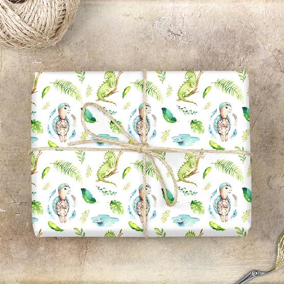 Gecko & Schildkröte Geschenkpapier