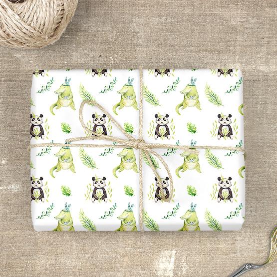 Panda & Krokodil Geschenkpapier